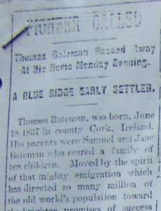 Pioneer Article on Thomas Bateman
